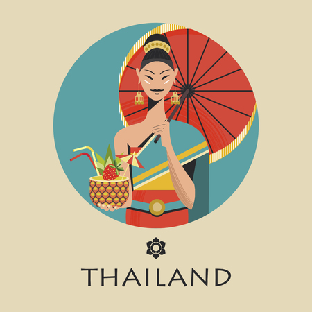 A beautiful Thai girl with a red umbrella holds an exotic pineapple cocktail. The girl wears a national Thai costume. Vector colorful illustration. Round emblem. Çizim