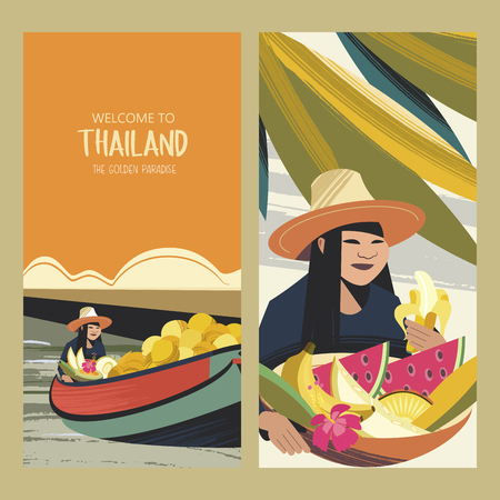 Thai fruit traders on the boat. Fruit market in Thailand. Thai woman in a hat with a basket of exotic fruits. Vector colorful illustration.