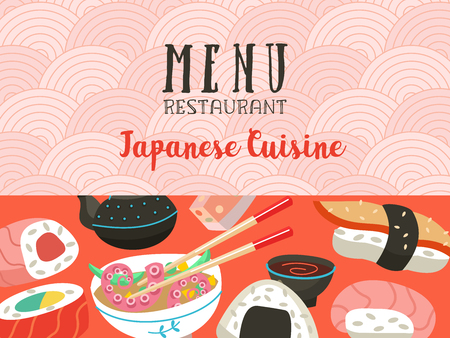Japanese cuisine. A set of traditional Japanese dishes. Vector illustration in cartoon style. Colorful menu template of Japanese cuisine cafe. Vettoriali