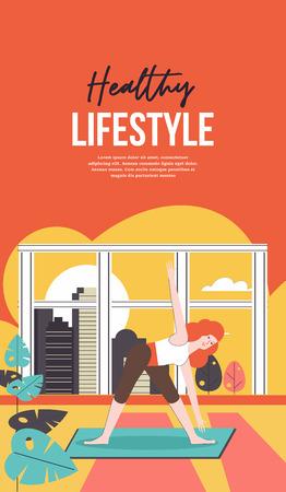 Das Mädchen führt zu Hause am offenen Fenster Sportübungen durch. Vektor-Illustration. Vektorgrafik
