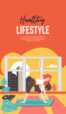The girl performs sports exercises at home by the open window. Vector illustration. Illustration