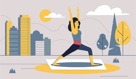 The girl performs sports exercises in the city Park. Healthy lifestyle in the big city. Urban landscape. Vector illustration.