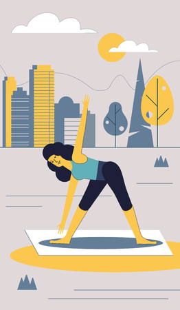 The girl performs sports exercises in the city Park. Vector illustration. Stock Illustratie