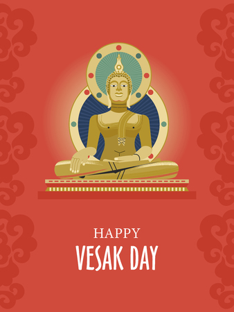 Vesak. Buddha Purnima. Traditional Buddhist holiday. Vector greeting card With Golden Buddha. Illustration