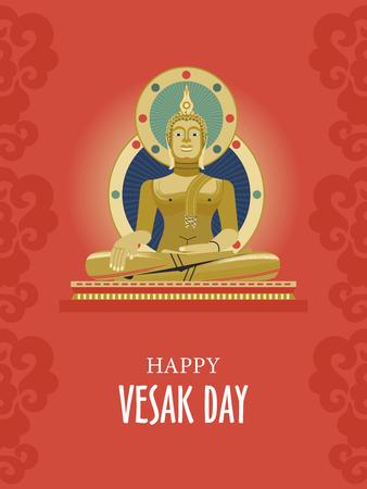 Vesak。佛宠物。传统佛教假日。传染媒介与金黄菩萨的贺卡。