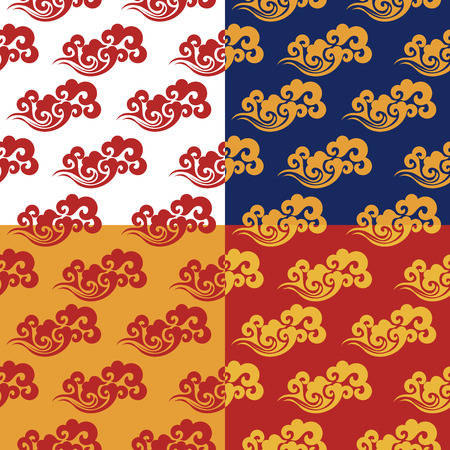 Set of 4 seamless patterns. Traditional Chinese gold pattern on red, white, yellow and blue background. Vintage abstract seamless pattern with China. Textile design. Textile ornament. Richly decorated with beautiful texture. Colorful Wallpaper. Ilustração