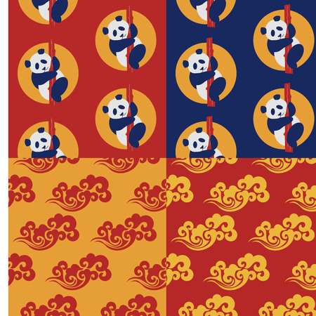 Set of 4 seamless patterns. Traditional Chinese gold pattern on red and yellow background. Panda pattern. Vintage abstract seamless pattern with China. Textile design. Textile ornament. Richly decorated with beautiful texture. Colorful Wallpaper. Ilustração