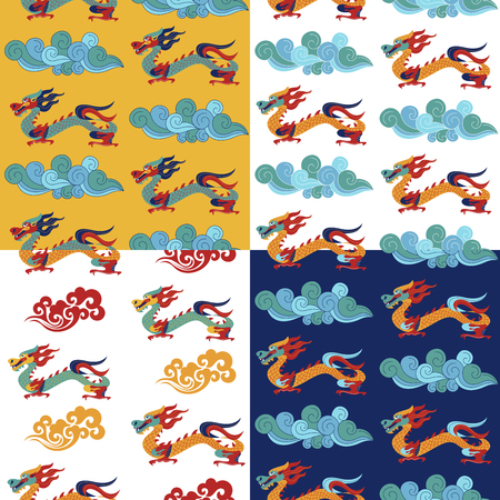 Set of 4 seamless patterns. Traditional Chinese pattern with Chinese dragons. Vintage abstract seamless pattern with China. Textile design. Textile ornament. Richly decorated with beautiful texture. Colorful Wallpaper.