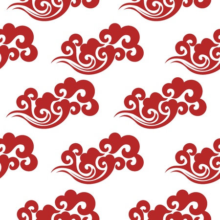 Vintage abstract with china seamless pattern. Textile design. Summer background. Textile ornament. Ornate beautiful texture. Summer print. Colorful wallpaper. Abstract red waves design on white background.