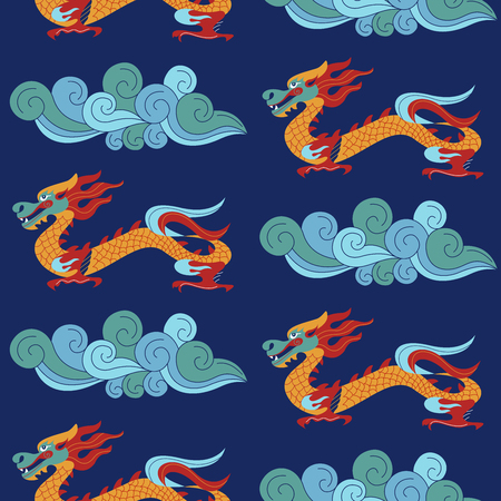 Seamless pattern on blue background. Traditional Chinese pattern with Chinese dragons. Vintage abstract seamless pattern with China. Textile design. Textile ornament. Richly decorated with beautiful texture. Colorful Wallpaper.