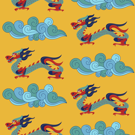 Seamless pattern on yellow background. Traditional Chinese pattern with Chinese dragons. Vintage abstract seamless pattern with China. Textile design. Textile ornament. Richly decorated with beautiful texture. Colorful Wallpaper.