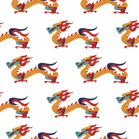 Seamless pattern on white background. Traditional Chinese pattern with Chinese dragons. Vintage abstract seamless pattern with China. Textile design. Textile ornament. Richly decorated with beautiful texture. Colorful Wallpaper.