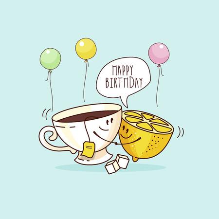 Bon anniversaire. Belle carte de voeux drôle. Tasse de thé et citron. Illustration vectorielle.