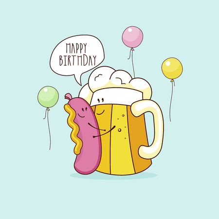 Happy birthday. Nice funny greeting card. A beer and a sausage and mustard. Vector illustration.