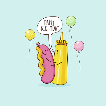 Happy birthday. Nice funny greeting card. Sausage and mustard. Vector illustration.
