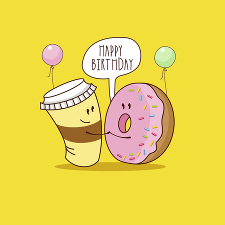 Happy birthday. Nice funny greeting card. Coffee and a doughnut with pink frosting. Vector illustration. Stock Illustratie
