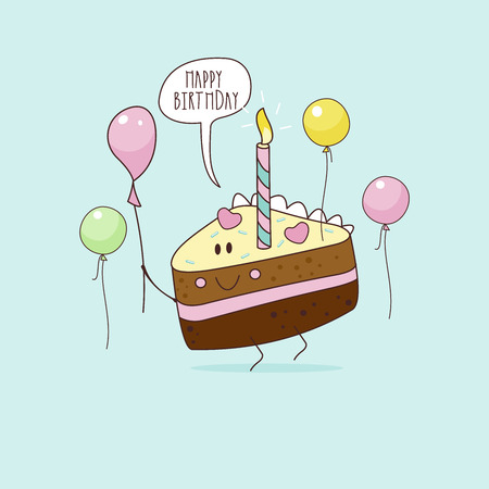 Happy birthday. Nice funny greeting card. Nice piece of cake with a candle. Vector illustration.