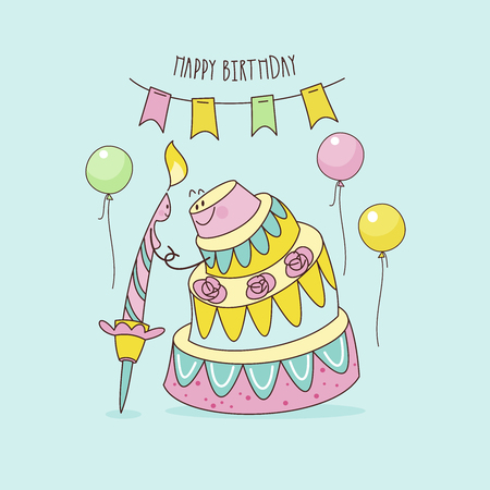 Happy birthday. Nice funny greeting card. Festive candle and birthday cake go on a date. Vector illustration.