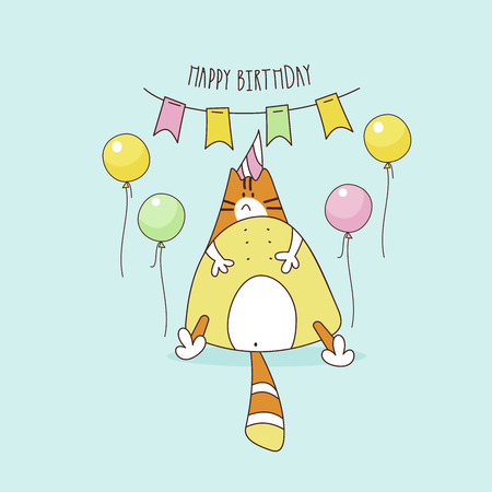 Happy birthday. Nice funny greeting card. Fat cat birthday boy. Vector illustration.