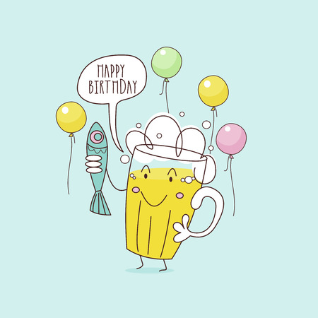 Happy birthday. Nice funny greeting card. Beer and fish. Vector illustration. Stock Illustratie