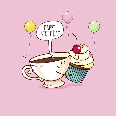 Happy birthday. Nice funny greeting card. Cup of coffee and cake. Vector illustration.