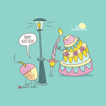 Happy birthday. Nice funny greeting card. A festive candle and a beautiful birthday cake go on a date. Near the street lamp is a small offended cupcake with a withered flower. Vector illustration.
