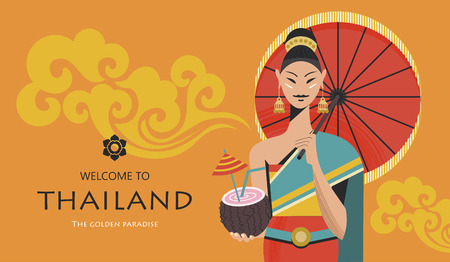 Beautiful Thai girl with red umbrella and exotic cocktail. Welcome to Thailand. Advertising flyer template. Vector colorful illustration.  イラスト・ベクター素材