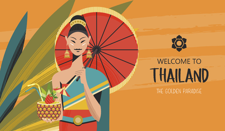 Beautiful Thai girl with red umbrella and exotic cocktail. Welcome to Thailand. Advertising flyer template. Vector colorful illustration. 向量圖像