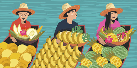 Thai fruit traders in boats. Vector illustration. Three Thai women in hats sell exotic fruits. For the Thai market.
