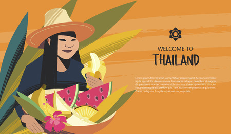 Thai woman in a hat holding a basket of exotic fruits. For the Thai market. Welcome to Thailand. Advertising flyer template. Illustration