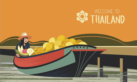 Thai fruit merchant in boats. Vector illustration. Thai woman in a hat sells exotic fruits. For the Thai market. Illustration