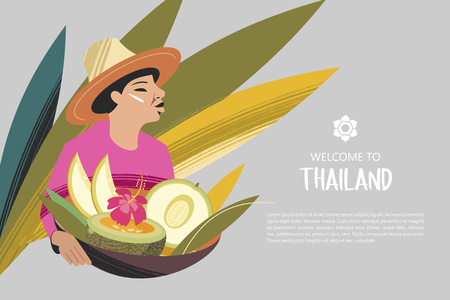 Thai woman in a hat holding a basket of exotic fruits. For the Thai market. Welcome to Thailand. Advertising flyer template. Çizim
