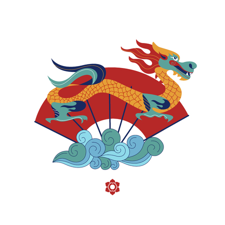 Chinese dragon on the background of a fan. Chinese traditional vector illustration.