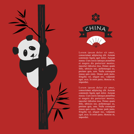 Cute Chinese Panda bear. Panda is sitting on a bamboo tree. Vector illustration with space for text on a red background. Illusztráció