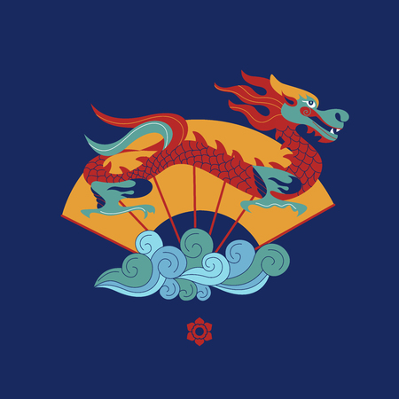 Chinese dragon, traditional pattern and Chinese fan. Vector illustration on blue background. Illusztráció