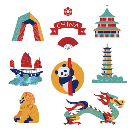 Set of vector icons, Chinese traditional objects and architectural objects. Chinese dragon, lion statue, unusual building, boat and pagoda. Stock Illustratie