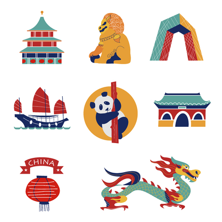 Set of vector icons, Chinese traditional objects and architectural objects. Chinese dragon, Chinese flashlight, lion statue, unusual building, boat and weather. Vettoriali