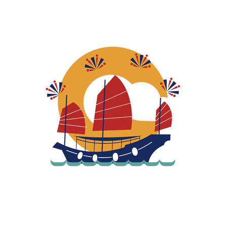 Chinese traditional junk boat. Vector illustration, icon. Isolated on white background.