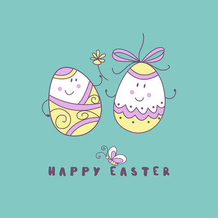 happy Easter. A pair of fun colored eggs. Cute vector holiday illustration in cartoon style. Greeting card.