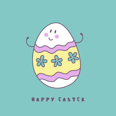 happy Easter. Cheerful Easter painted egg. Cute vector holiday illustration in cartoon style. Greeting card. Ilustração