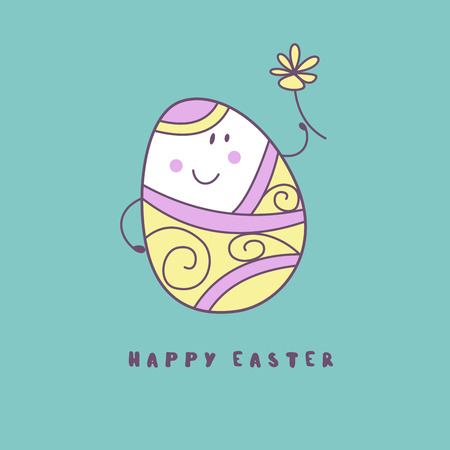 happy Easter. Cheerful Easter painted egg. Cute vector holiday illustration in cartoon style. Greeting card. Stock Illustratie