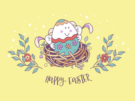 happy Easter. Cheerful Easter painted egg in a nest with Easter rabbits. Cute vector holiday illustration in cartoon style. Greeting card. Stock Illustratie