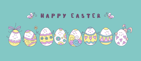 happy Easter. A great set of fun painted Easter eggs. Cute vector holiday illustration in cartoon style. Greeting card.