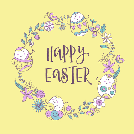 happy Easter. Wreath of flowers, herbs and cheerful painted Easter eggs. Greeting card in cartoon style.
