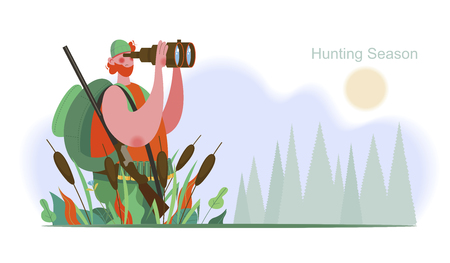 Hunter with a gun and a backpack looking through binoculars. Hunting season. A hunter in a wooded landscape. Vector illustration. Ilustração