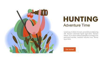 Web header. Hunter with a gun and a backpack looking through binoculars. Hunting time. Vector illustration. Vettoriali