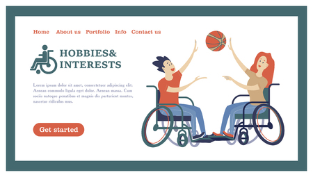 A man and a woman with a wheelchair playing volleyball, basketball. The concept of a society and a community of persons with disabilities. Hobbies, interests, lifestyle of people with disabilities. Vector illustration of flat cartoon style, isolated, white background. Illustration