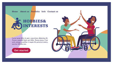 A man and a woman with a wheelchair dancing. The concept of a society and a community of persons with disabilities. Vector illustration of flat cartoon style, isolated, white background.