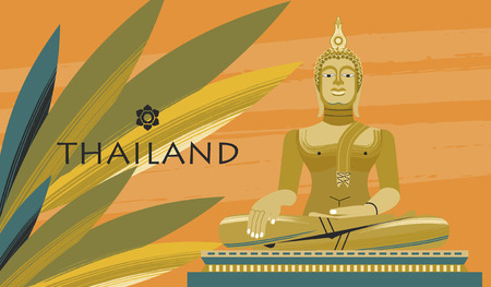 Welcome to Thailand. Travel Agency advertising flyer template. The statue of the Golden Buddha, a religious symbol. Wind illustration.