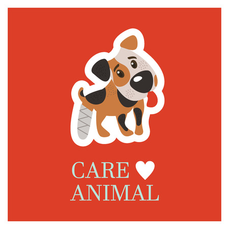 Veterinary care. Care of animals. Cute dog Jack Russell Terrier with a broken leg. The emblem of the clinic. Vector illustration of a sticker.